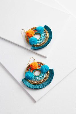 pom-pom fringe earrings