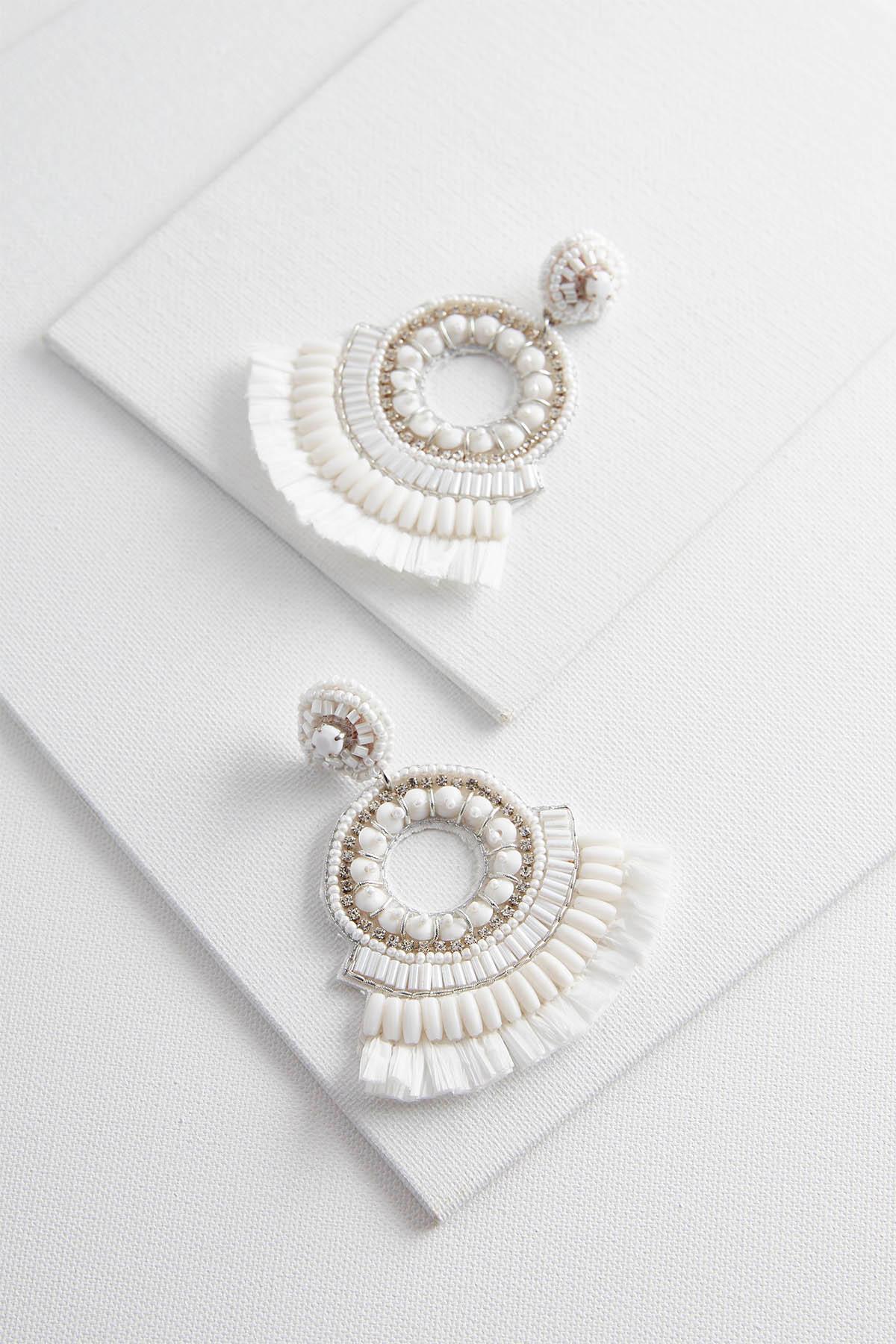 Beaded Raffia Fringe Earrings