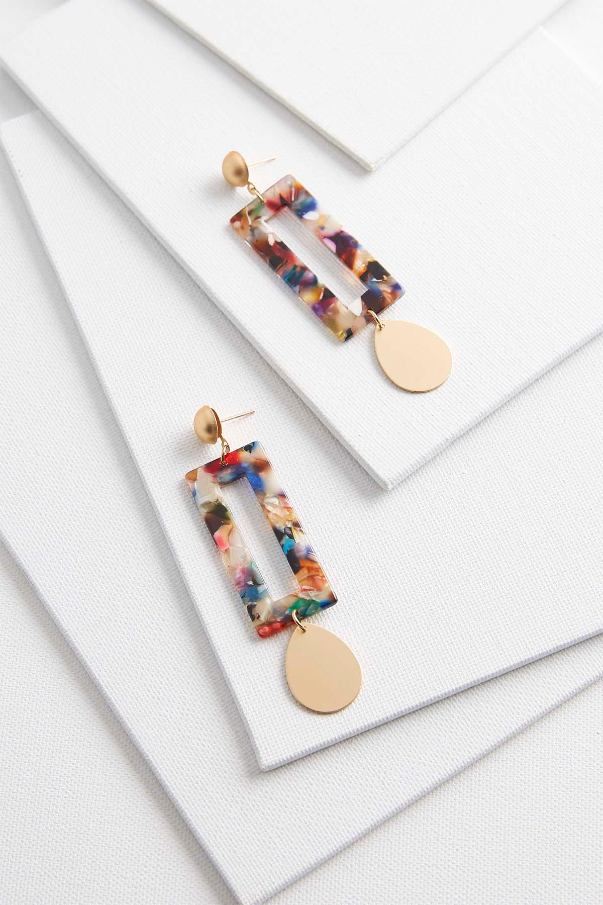 Dangling Multicolored Lucite Earrings