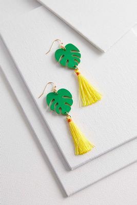 palm leaf tassel earrings