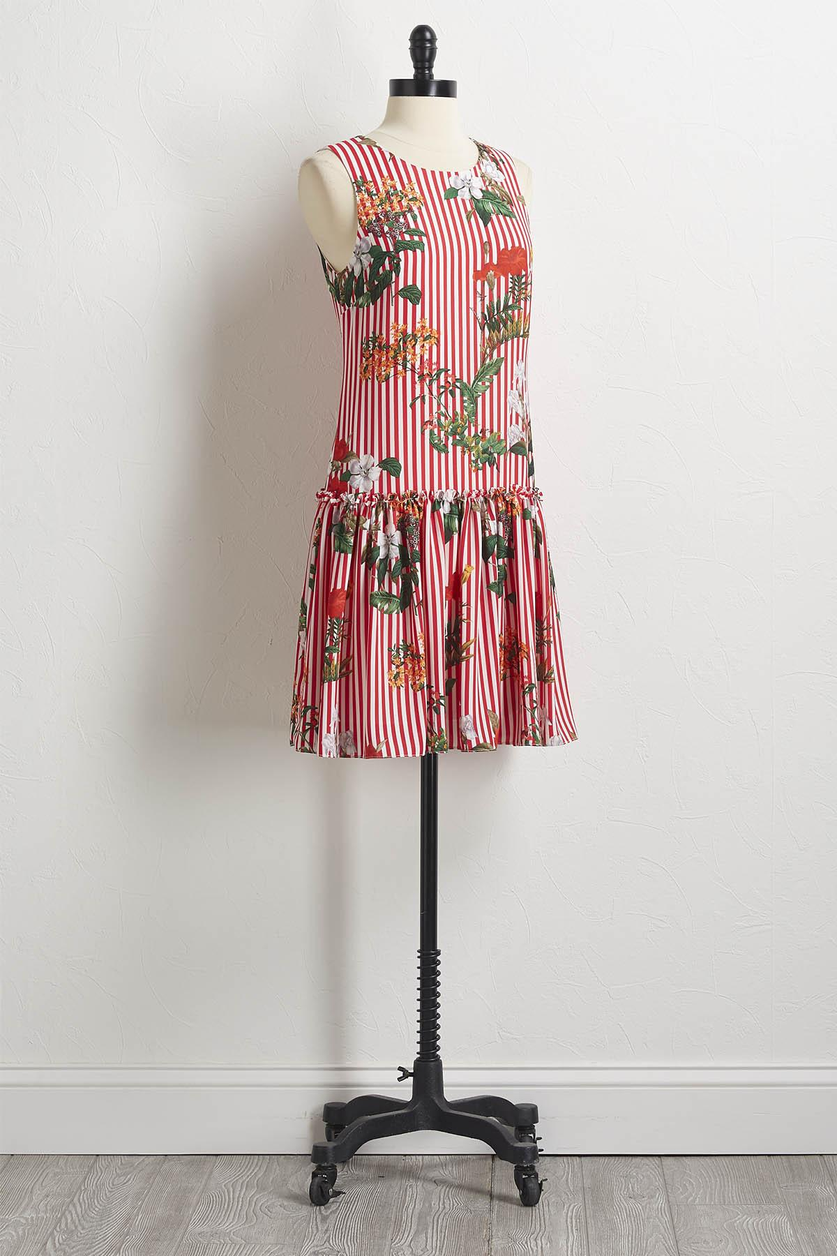 Stripe Floral Shift Dress