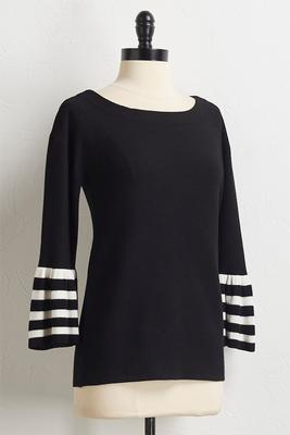 striped flair sleeve sweater