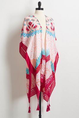 bright tasseled kimono