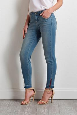 red zipped hem skinny jeans
