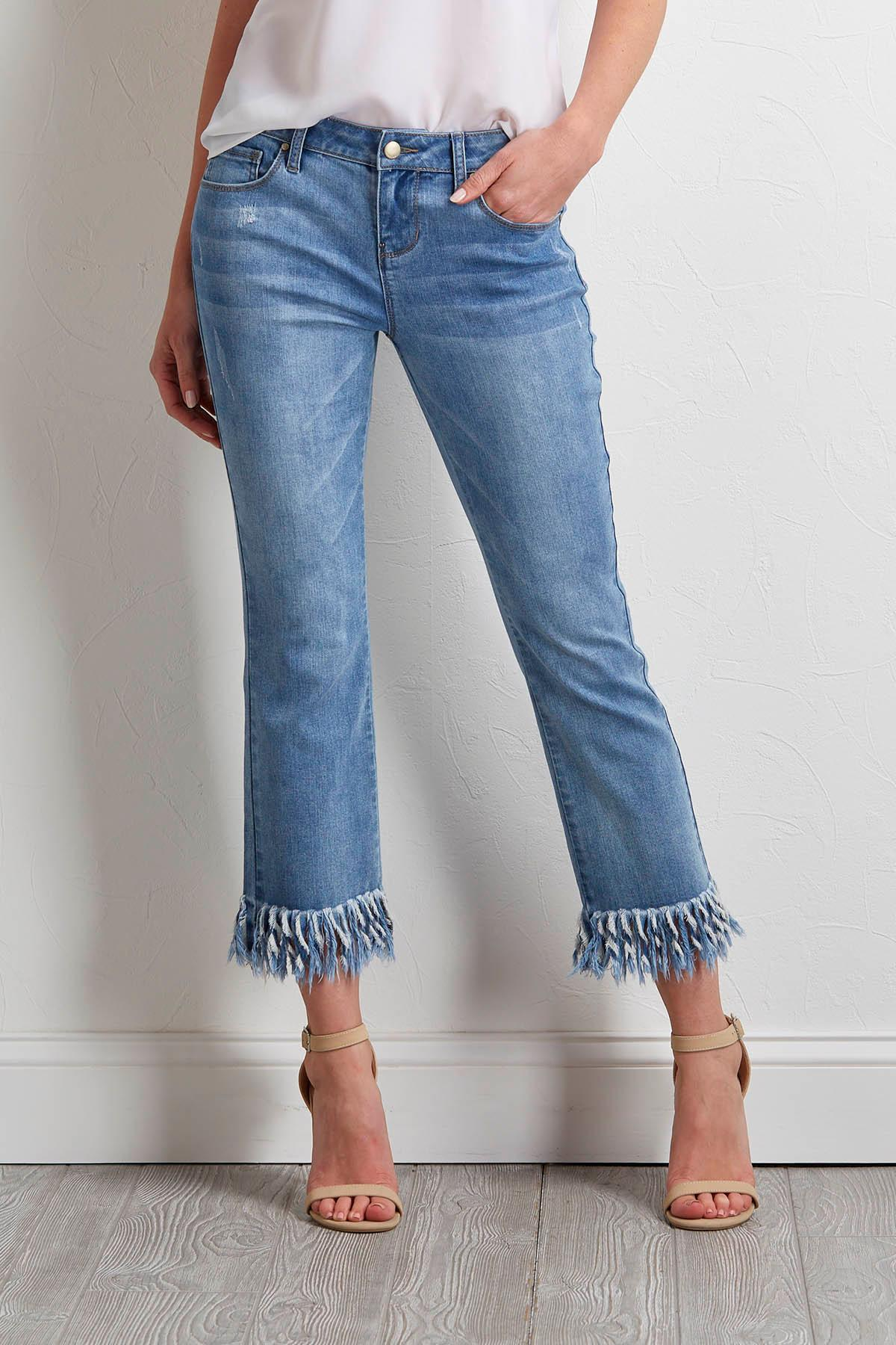 Cropped Twisted Frayed Hem Jeans