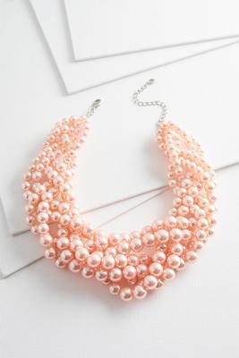 woven pearl bib necklace