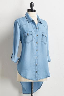 button down high-low chambray shirt