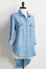 Button Down High- Low Chambray Shirt
