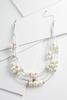 Metallic Cord And Pearl Necklace