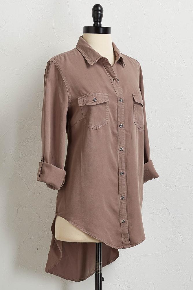 Soft Button Down High- Low Shirt