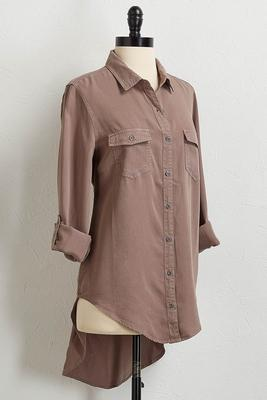 soft button down high-low shirt