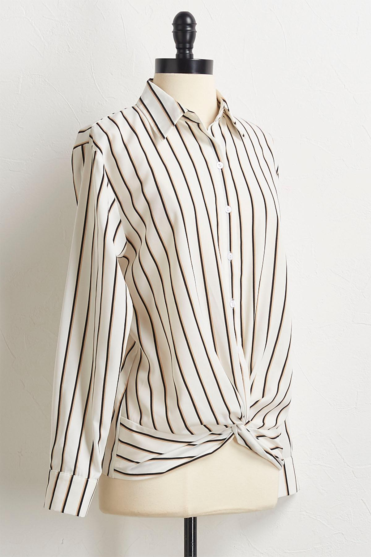 Striped Twist Front Top