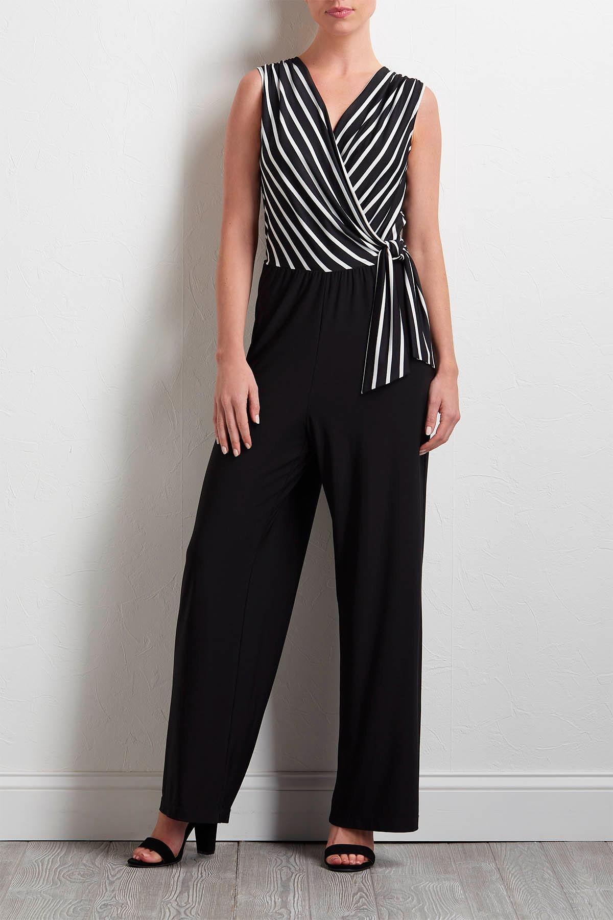 Black And White Surplice Jumpsuit