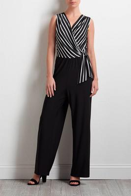 black and white surplice jumpsuit