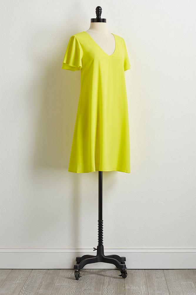 Solid Flutter Sleeve Shift Dress