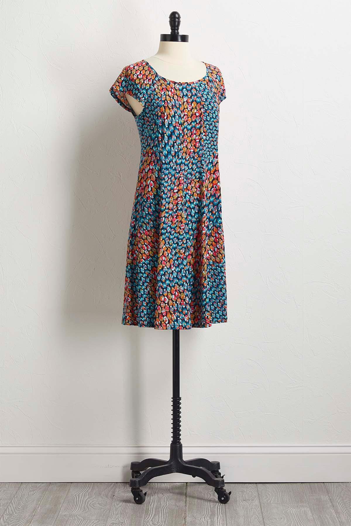 Teal Peacock Shift Dress