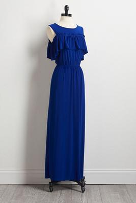 blue bare shoulder maxi dress