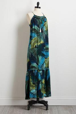 tasseled palm maxi dress