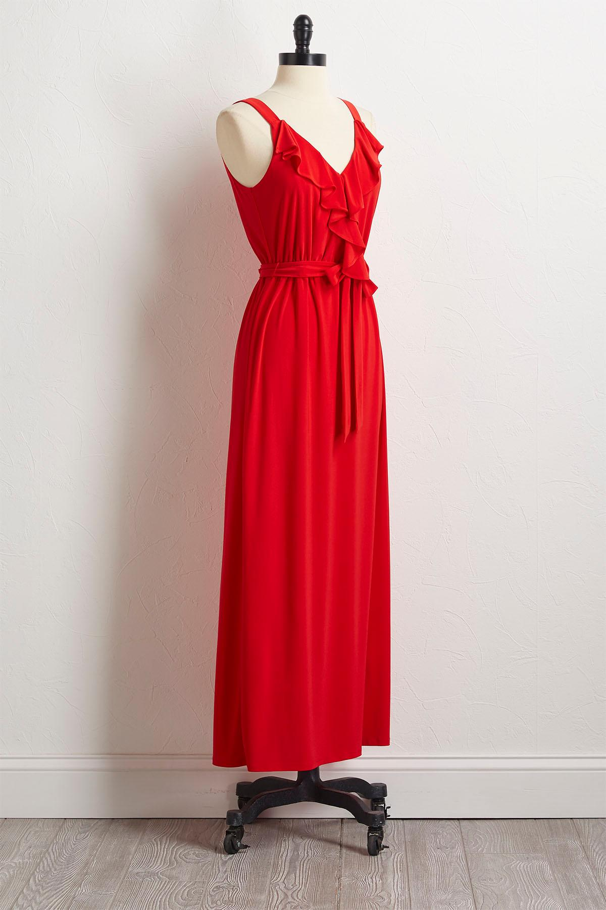 Ruffled Tie Waist Maxi Dress