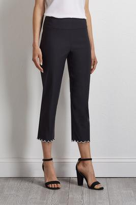contrast scalloped hem pants