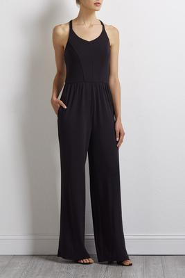 solid side pocket jumpsuit