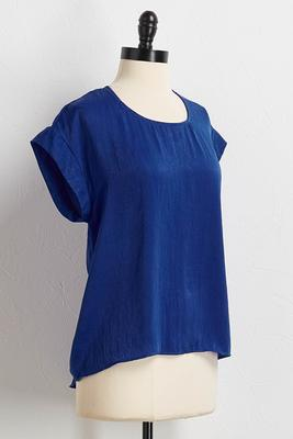 textured satin high-low tee