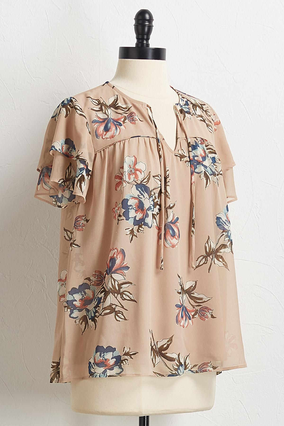 Natural Ruffled Sleeve Floral Top