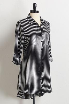 stripe high-low tunic