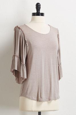 slim stripe ruffled sleeve top