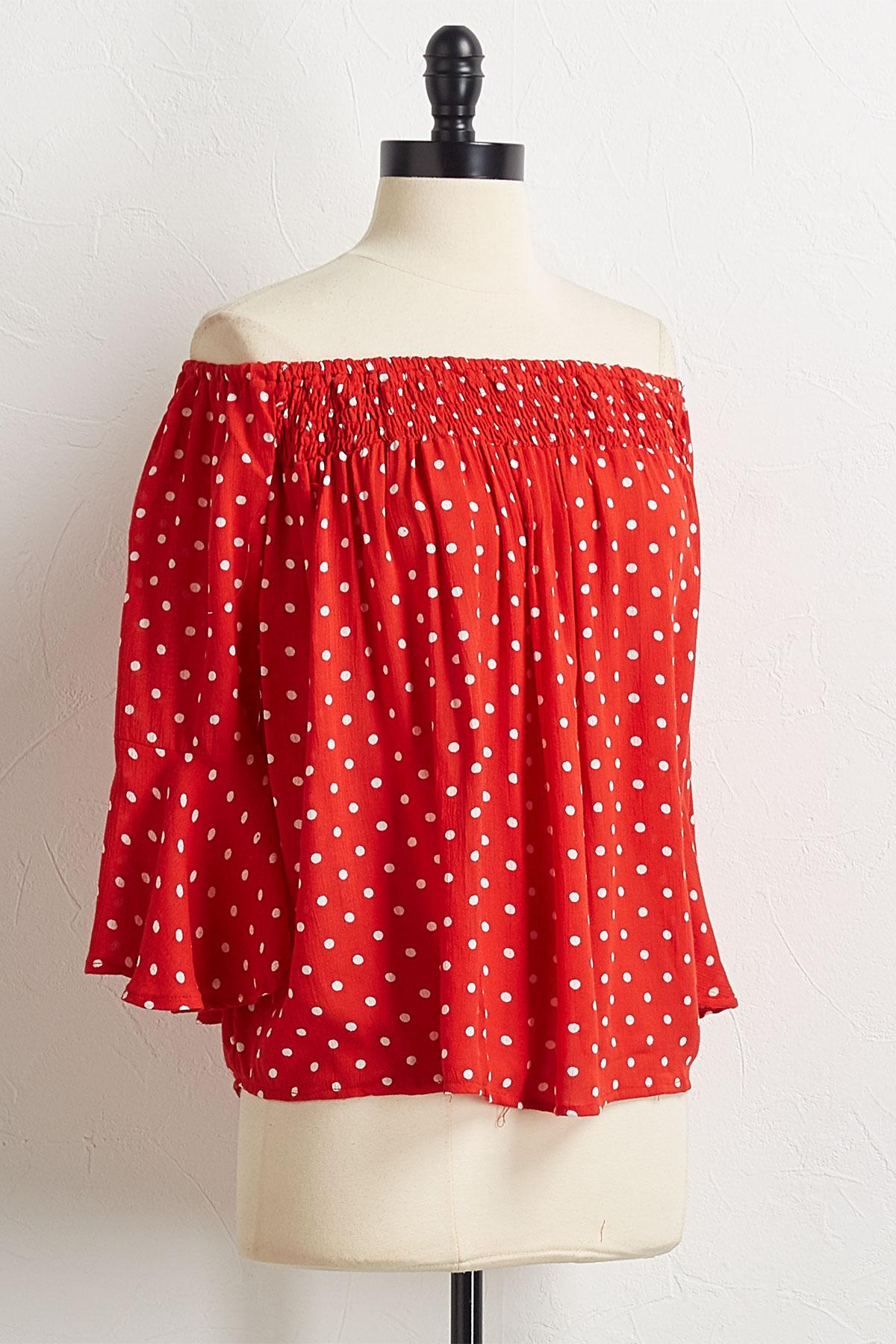 Red Polka Dot Off The Shoulder Top