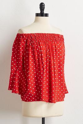 red polka dot off the shoulder top