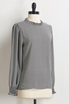 houndstooth ruffled sleeve top