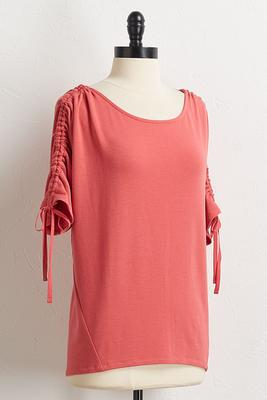 cinched tie sleeve top