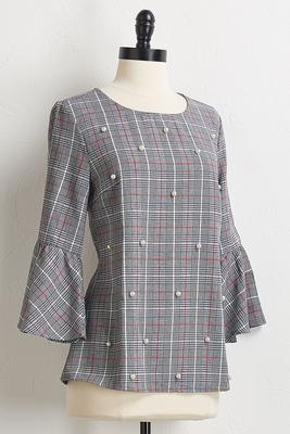 pearl plaid bell sleeve top