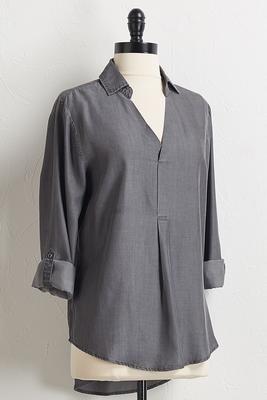 gray chambray high-low shirt