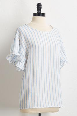 blue stripe linen top