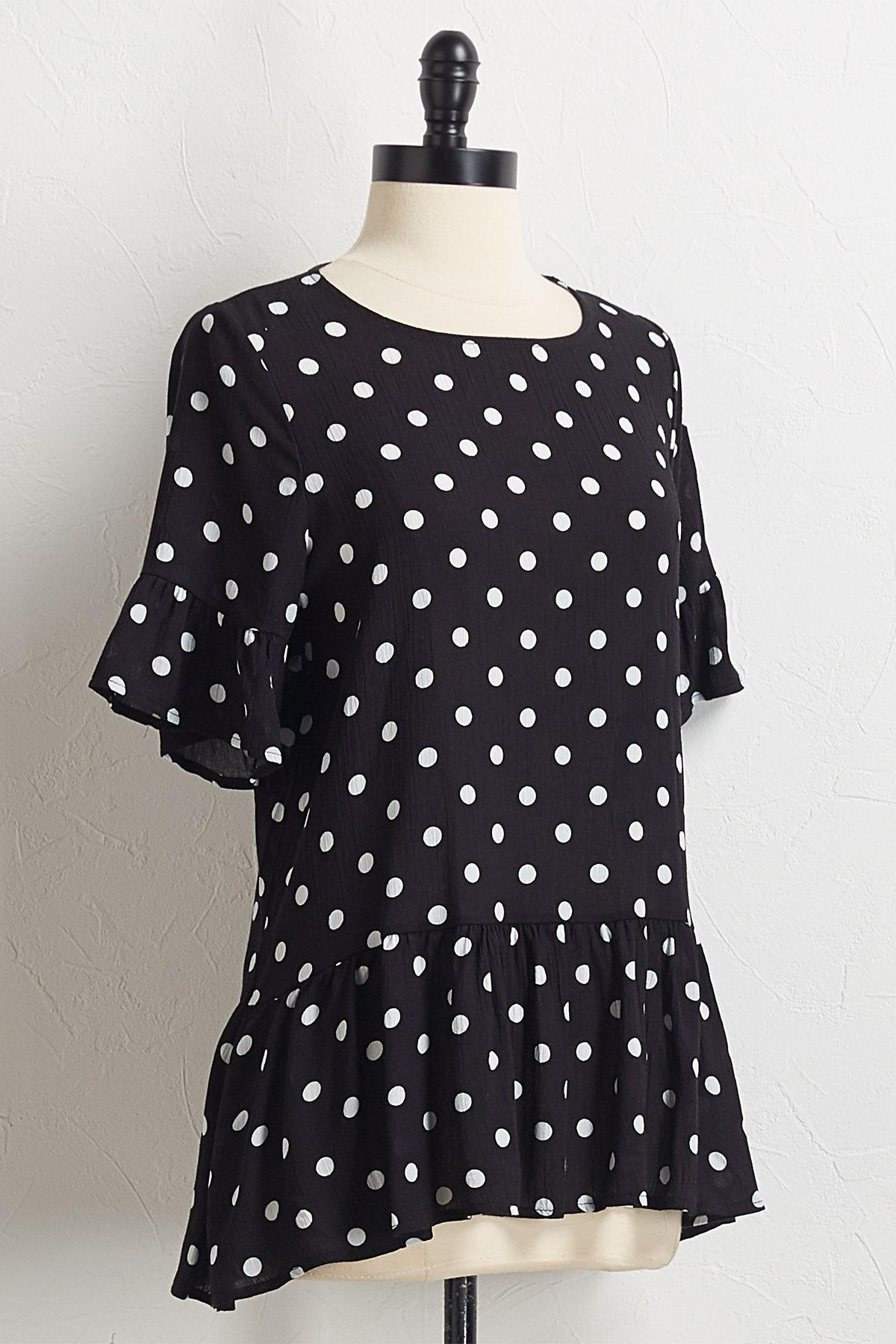 Polka Dot Peplum Top