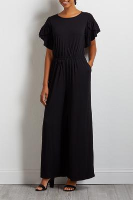 black ruffle sleeve knit jumpsuit