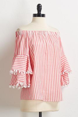 striped pom-pom sleeve top