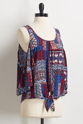patchwork bare shoulder top