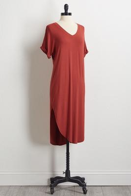 round hem shirt dress