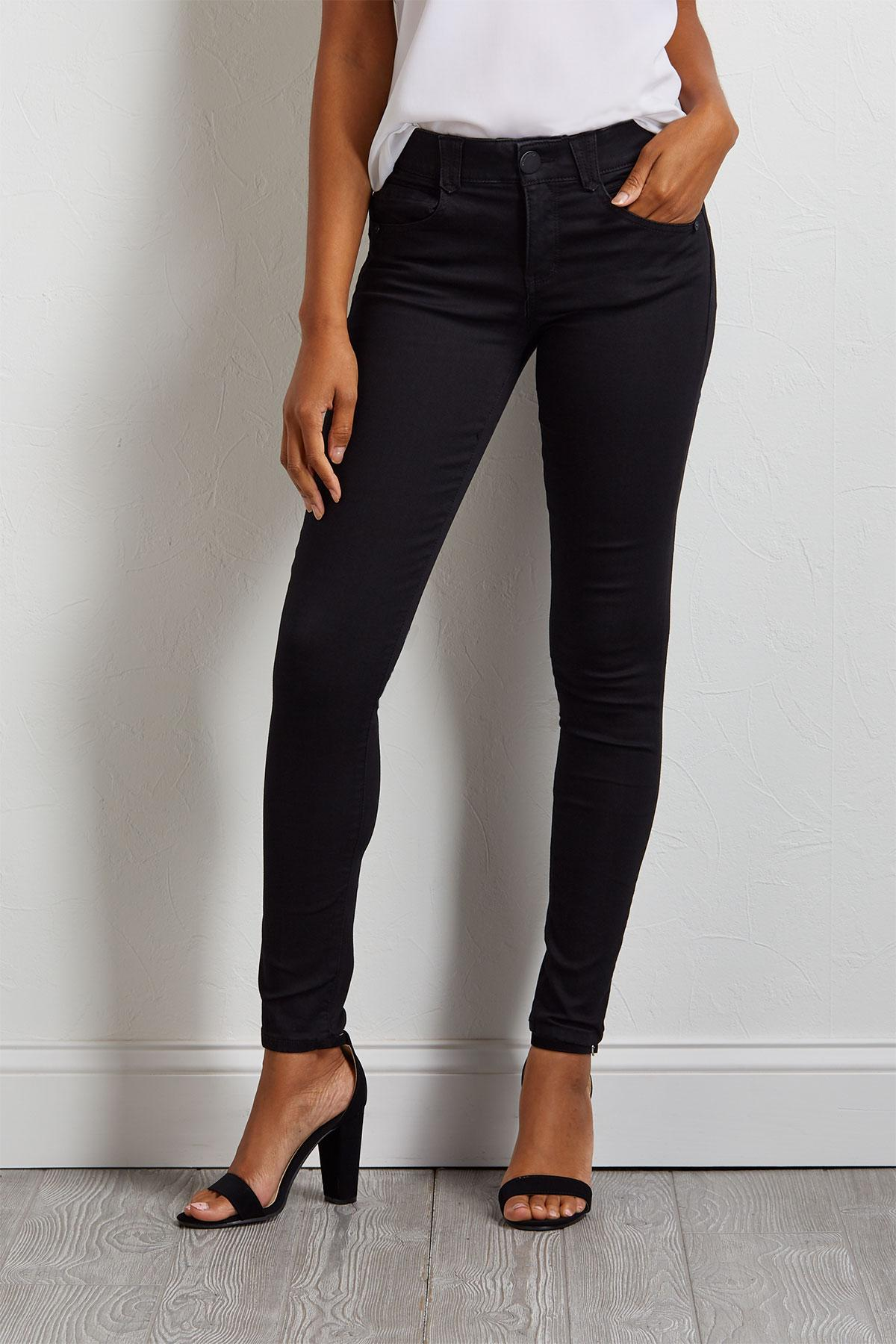 Black Woven Jeggings