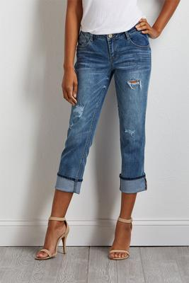 distressed climate control jeans