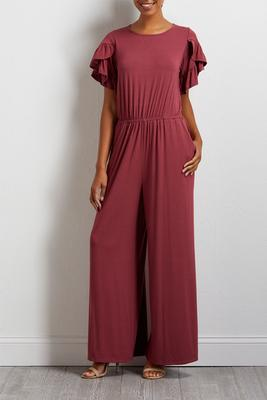 ruffle sleeve knit jumpsuit