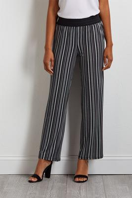 crochet and stripe palazzo pants