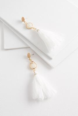 pearl fabric tassel earrings