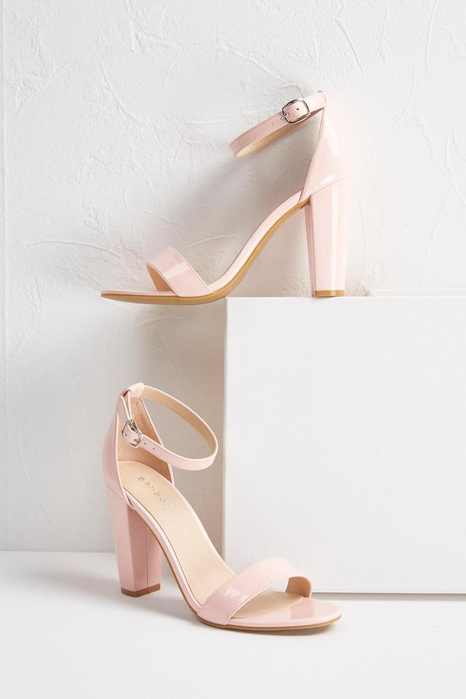 Patent Block Heel Sandals