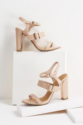 strappy nude block heels