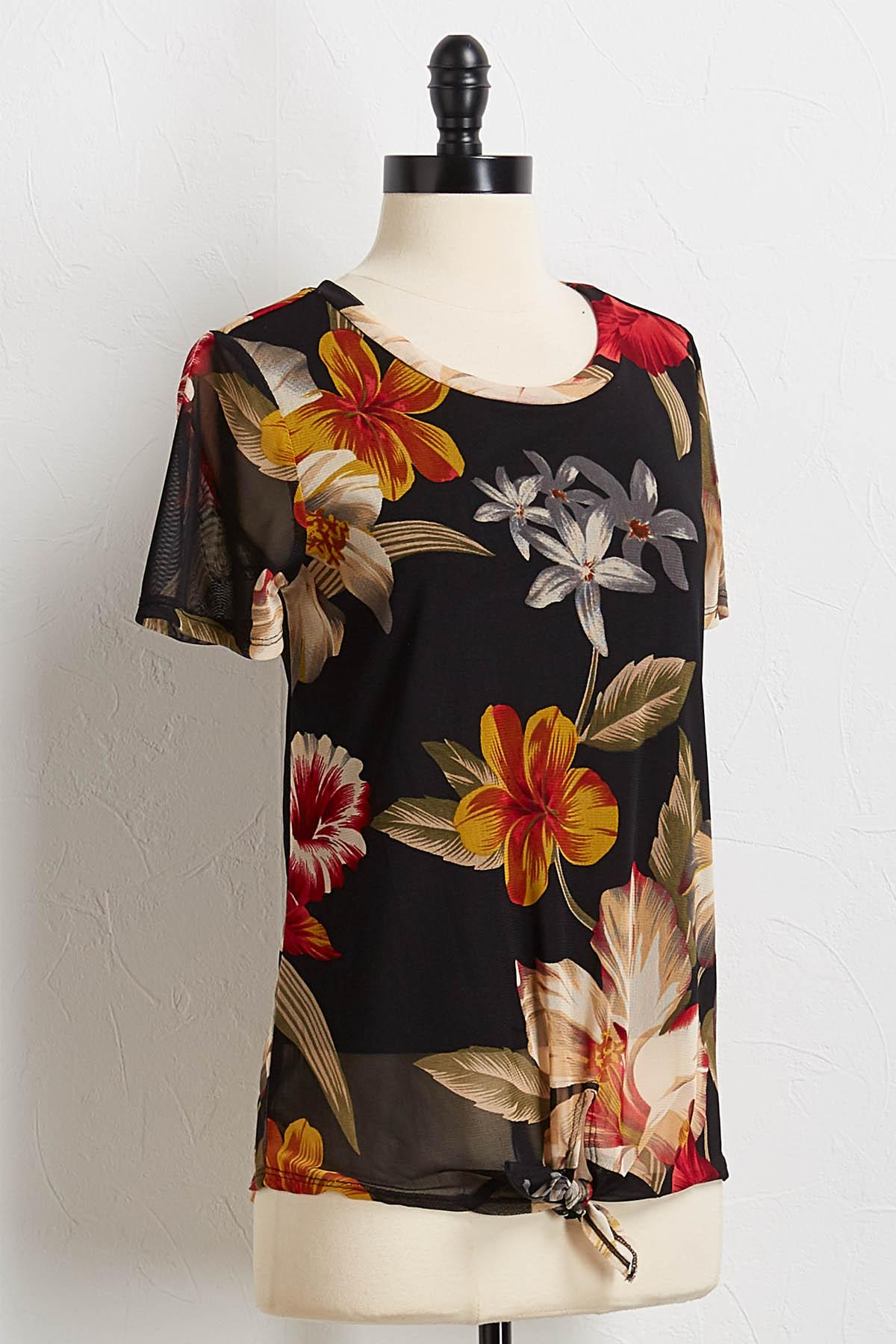 Knotted Floral Mesh Top