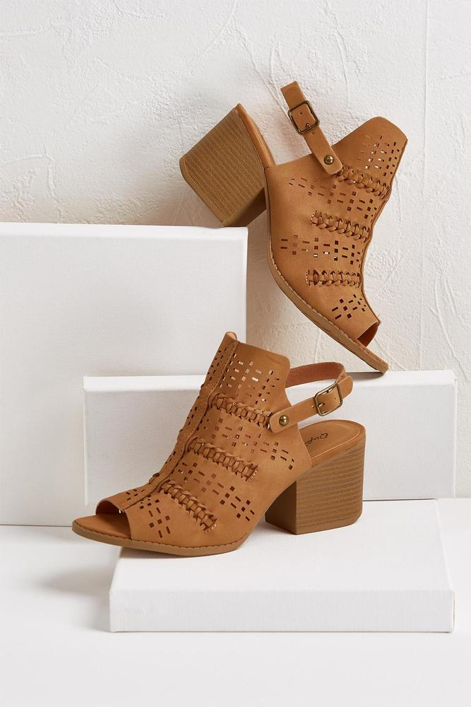 Perforated Slingback Mules